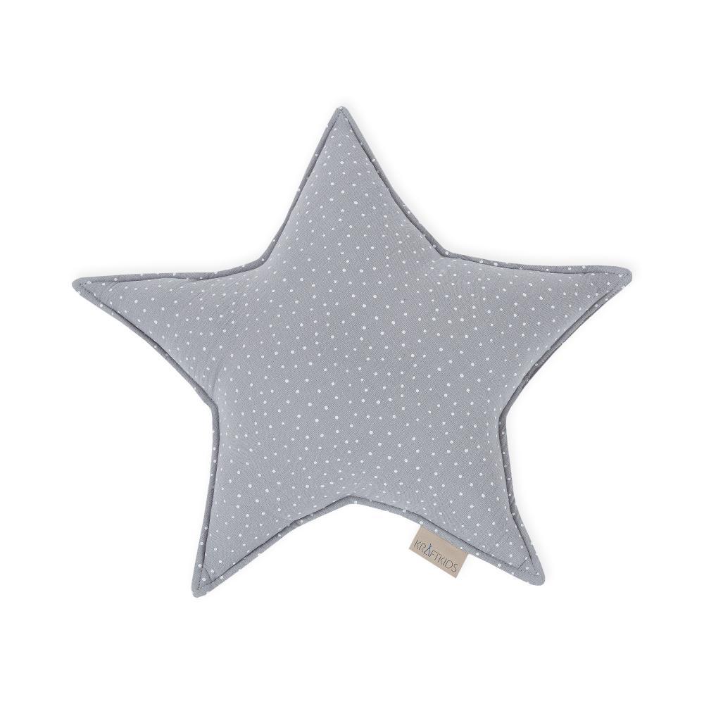 KraftKids Dekoration Sternkissen Musselin grau Punkte