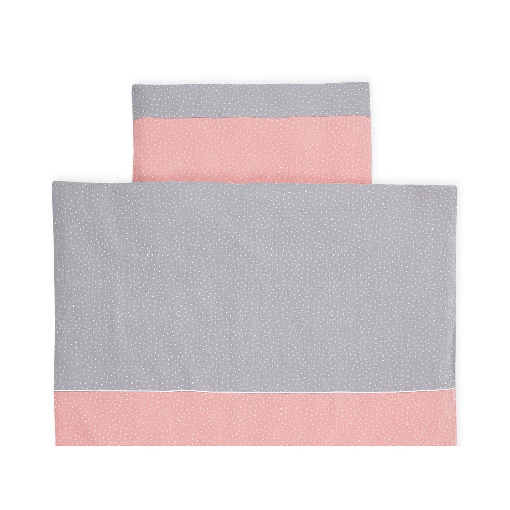 KraftKids Bettwäscheset Musselin grau Punkte und Musselin rosa Punkte 140 x 200 cm, Kissen 80 x 80 cm