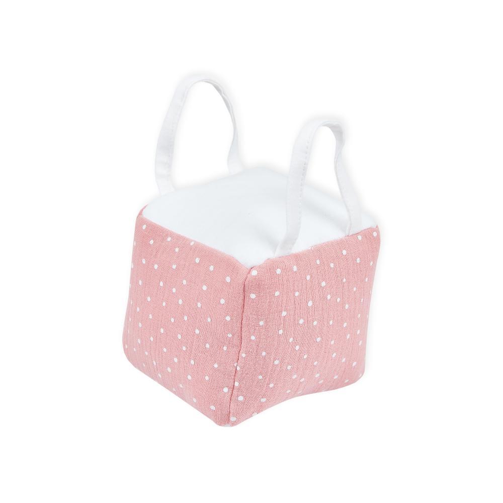 KraftKids Motorikwürfel aus Stoff Musselin rosa Punkte 100% Baumwolle sehr weich