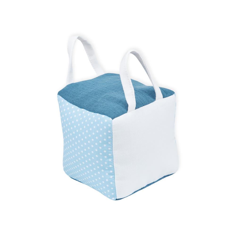 KraftKids Motorikwürfel aus Stoff weiße Punkte auf Hellblau 100% Baumwolle sehr weich