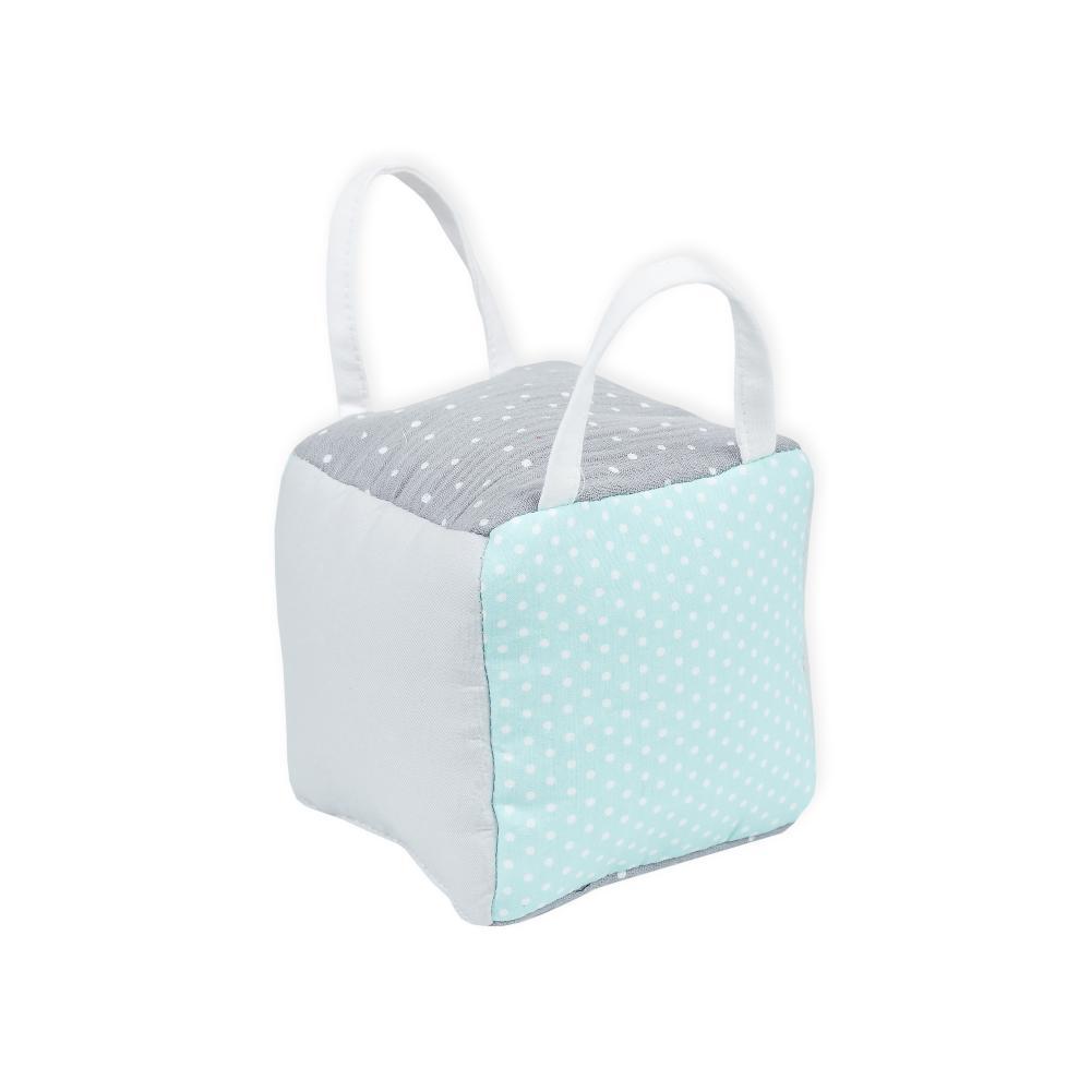 KraftKids Motorikwürfel aus Stoff weiße Punkte auf Mint und Musselin grau Punkte 100% Baumwolle sehr weich