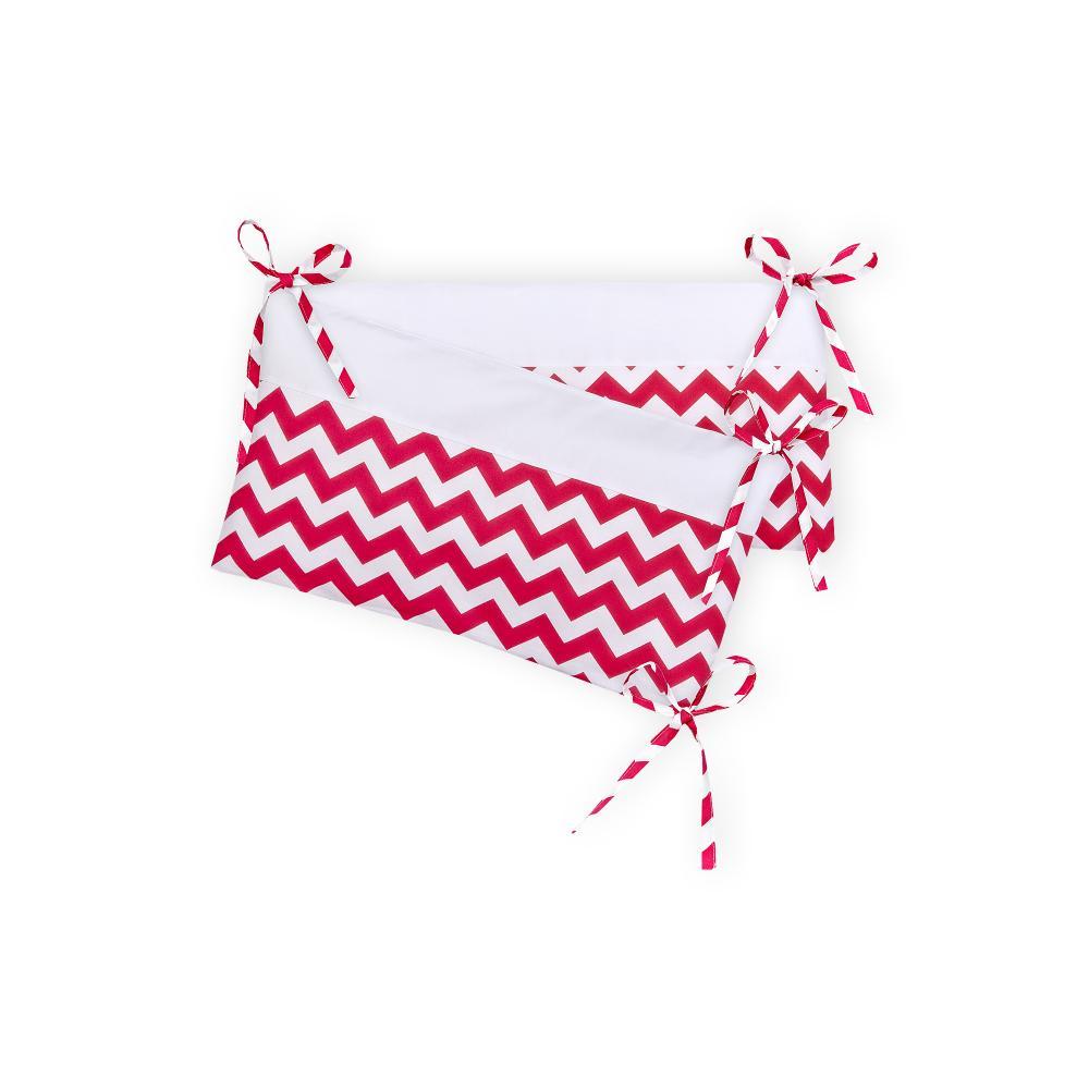 KraftKids Nestchen Uniweiss und Chevron magenta Nestchenlänge 60-70-60 cm für Bettgröße 140 x 70 cm