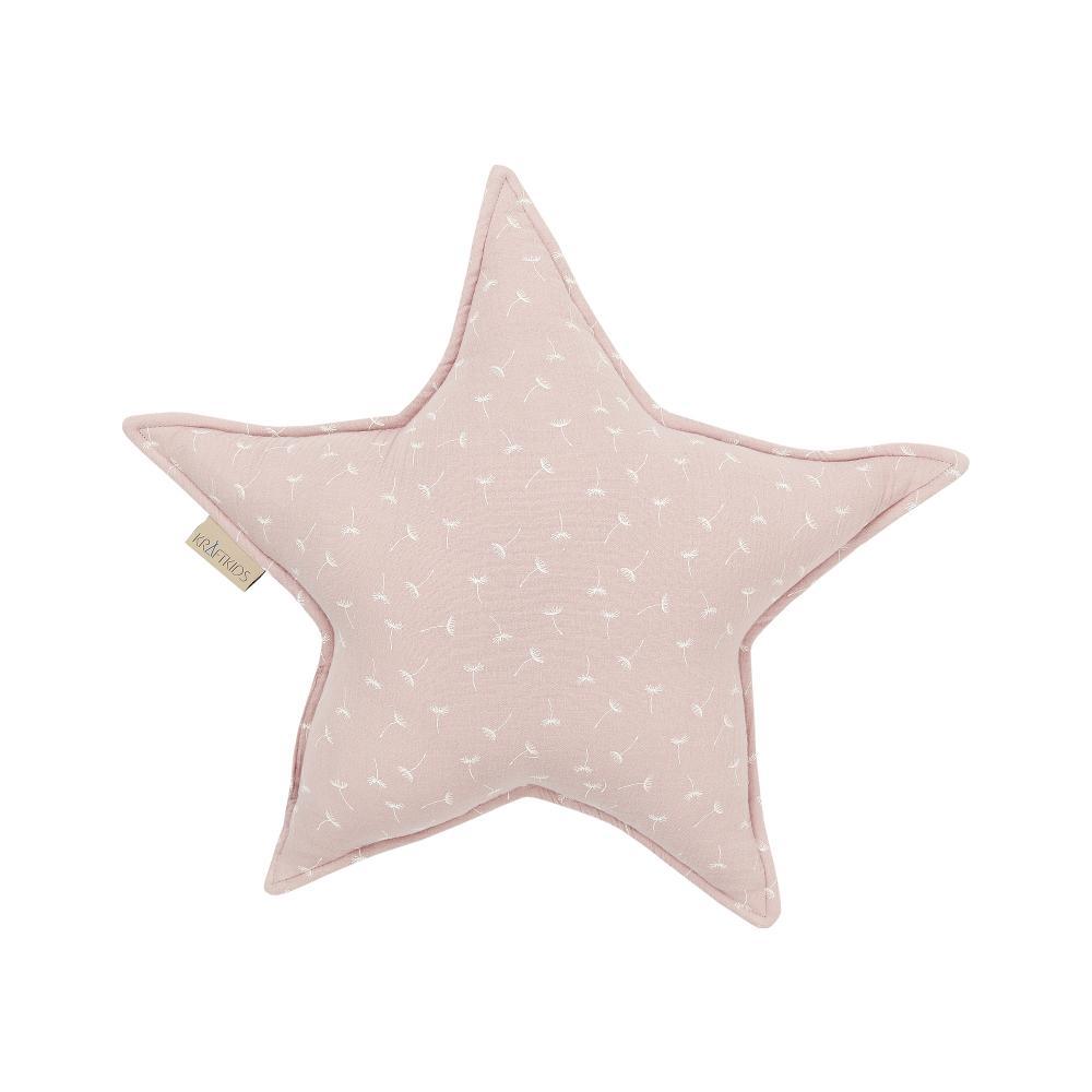 KraftKids Dekoration Sternkissen Musselin rosa Pusteblumen