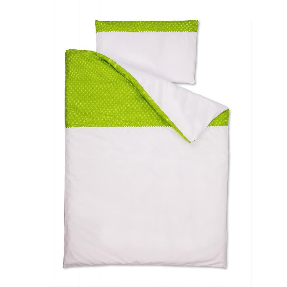 KraftKids Bettwäscheset Uniweiss und weiße Punkte auf Grün 140 x 200 cm, Kissen 80 x 80 cm