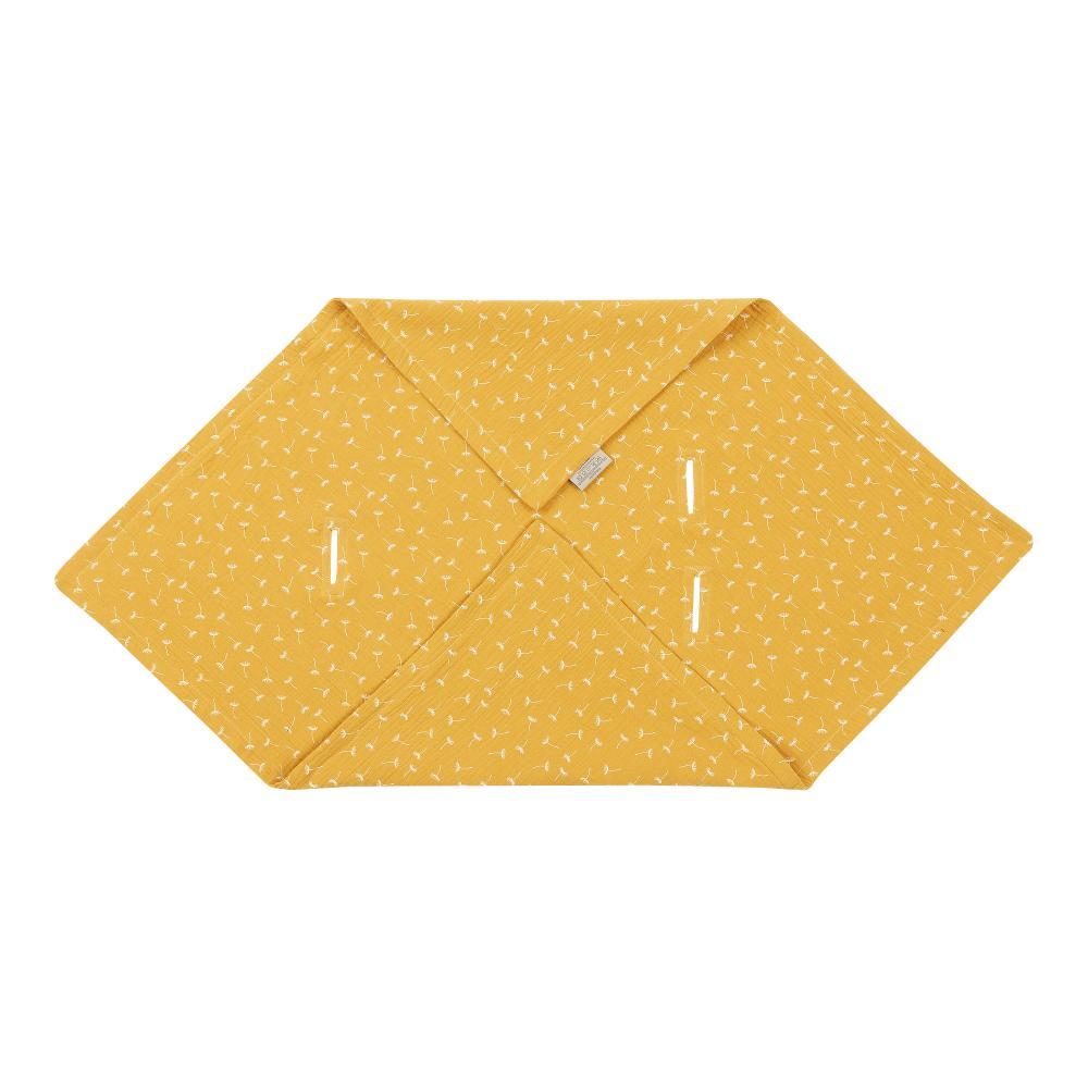 KraftKids Einschlagdecke für Babyschale Sommer Musselin gelb Pusteblumen
