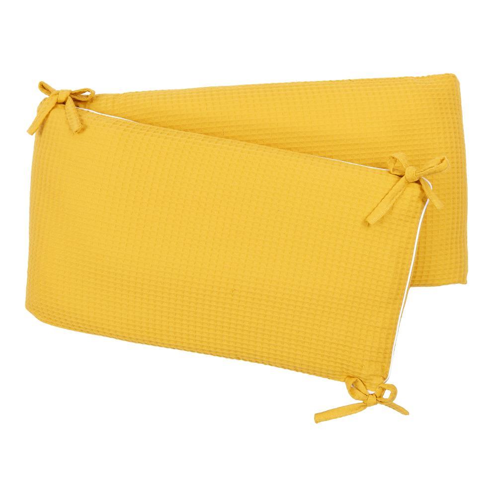 KraftKids Nestchen Waffel Piqué mustard Nestchenlänge 60-60-60 cm für Bettgröße 120 x 60 cm