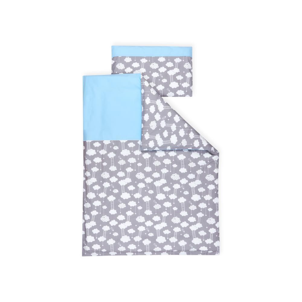 miniFifia Bettwäscheset weiße Wolken auf Grau 100 x 135 cm, Kissen 40 x 60 cm