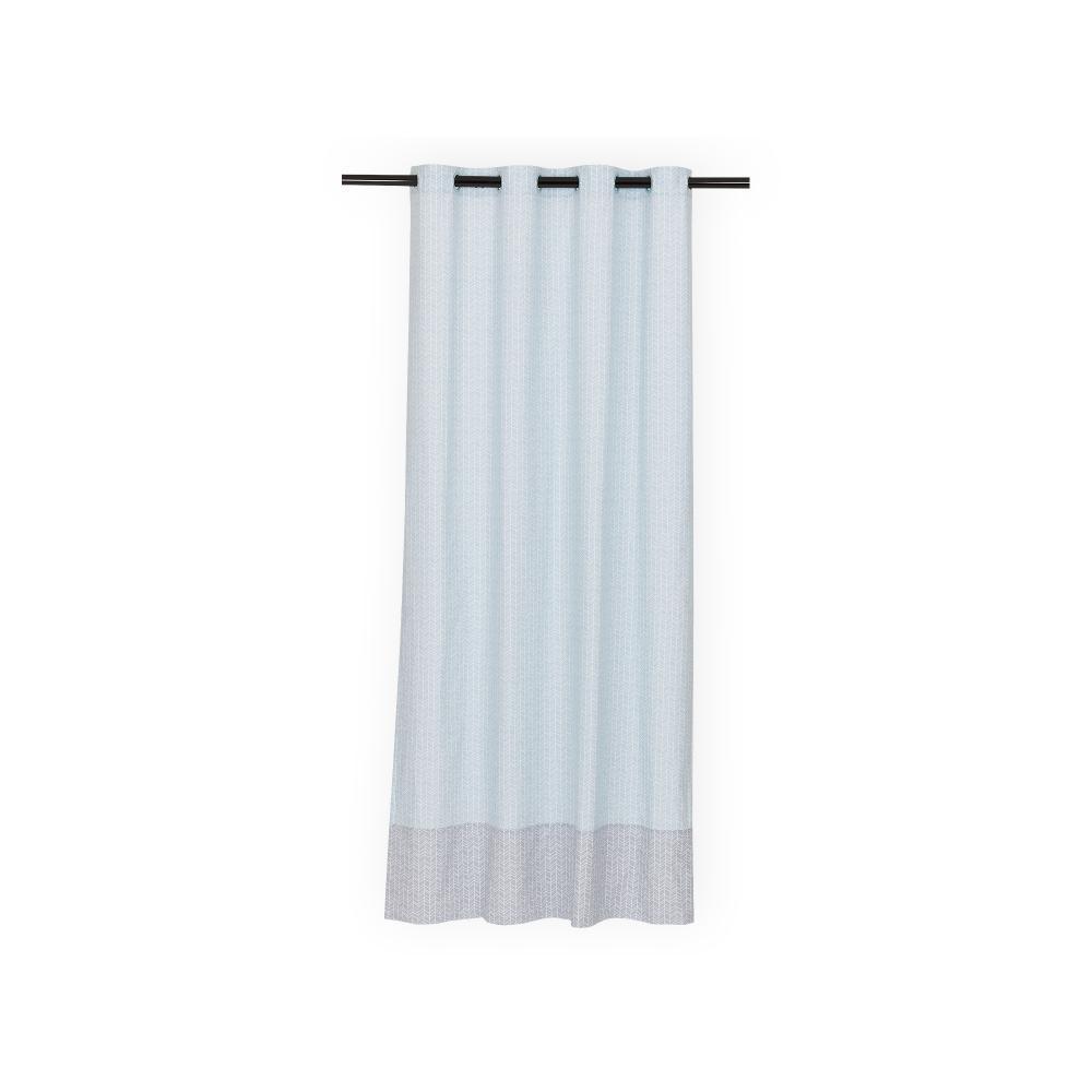 KraftKids Gardinen weiße Feder Muster auf Blau Länge: 170 cm