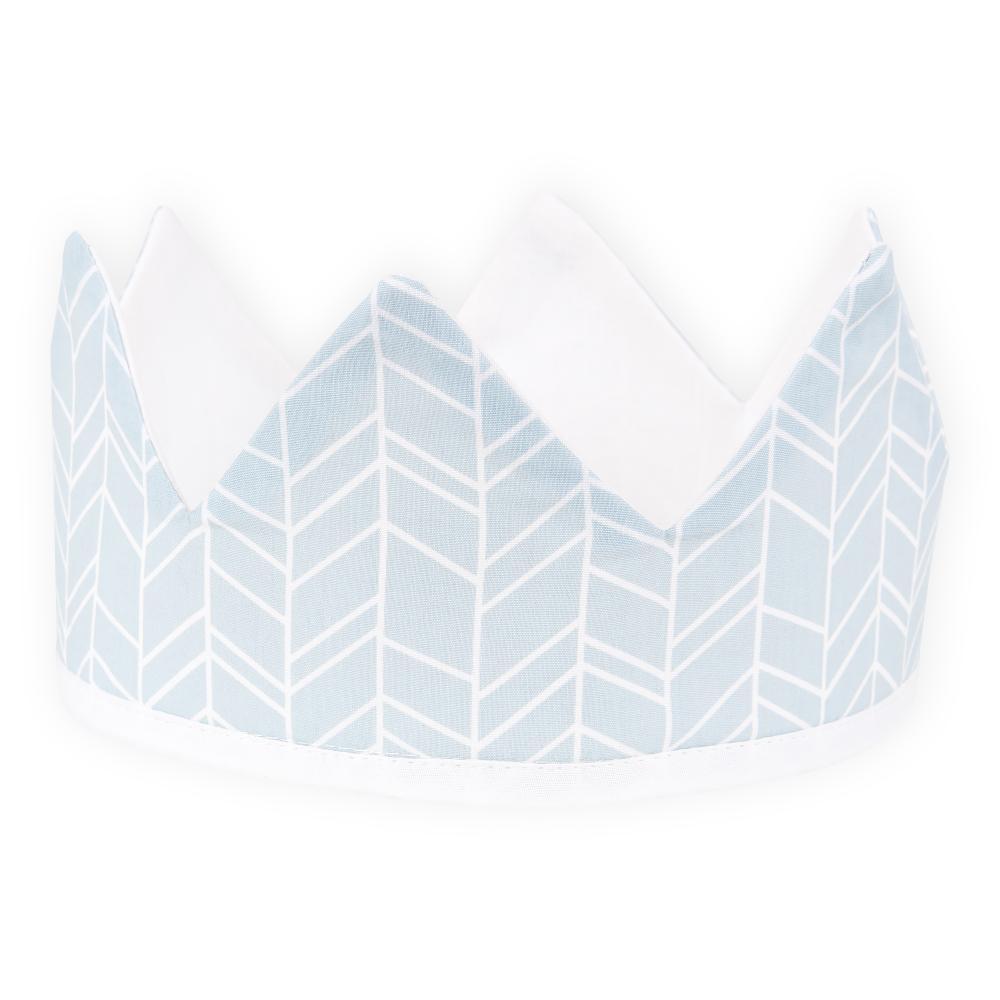 KraftKids Dekoration Stoffkrone weiße Feder Muster auf Blau