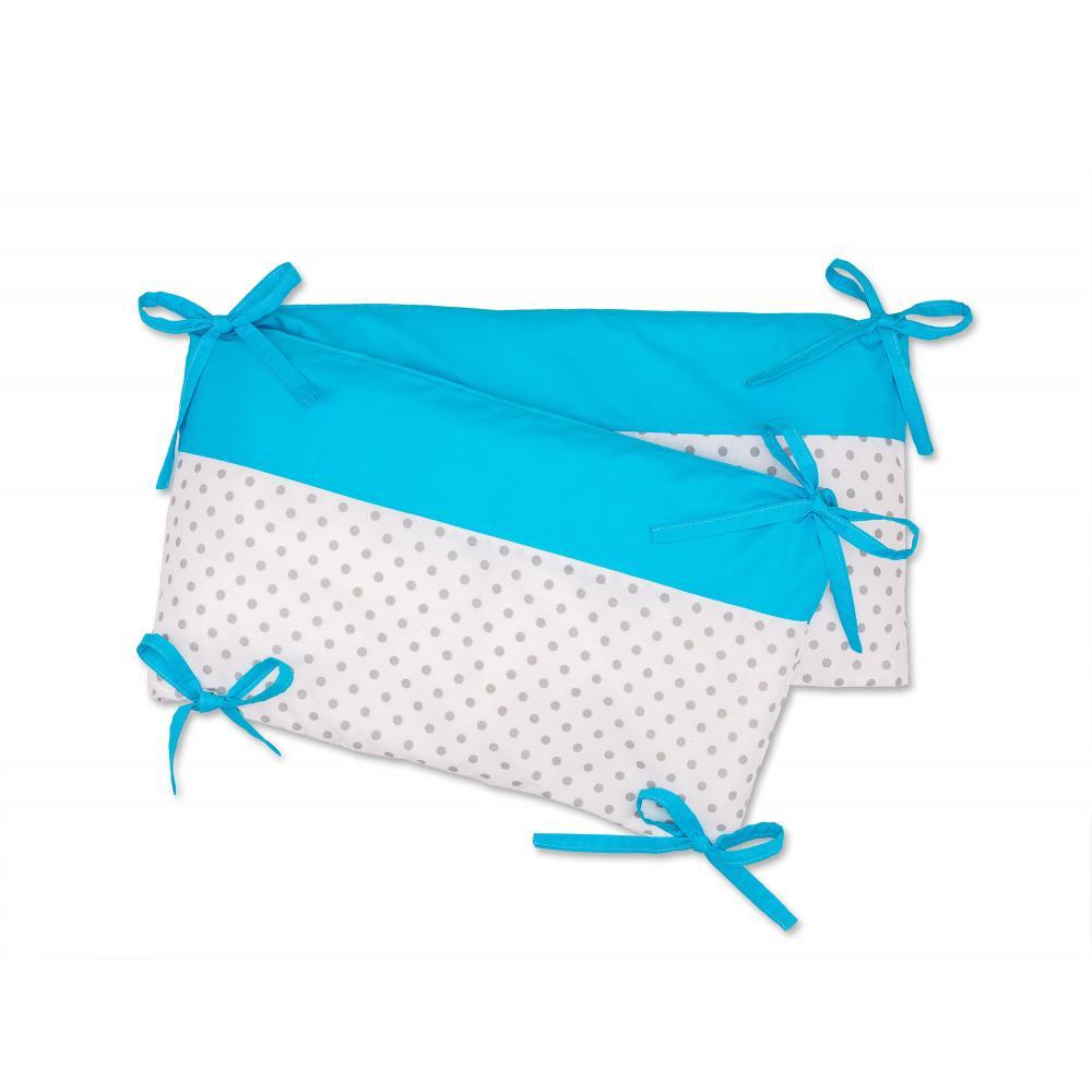 KraftKids Nestchen Unitürkis und graue Punkte auf Weiss Nestchenlänge 60-60-60 cm für Bettgröße 120 x 60 cm