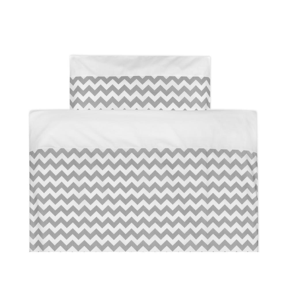 KraftKids Bettwäscheset Uniweiss und Chevron grau 140 x 200 cm, Kissen 80 x 80 cm