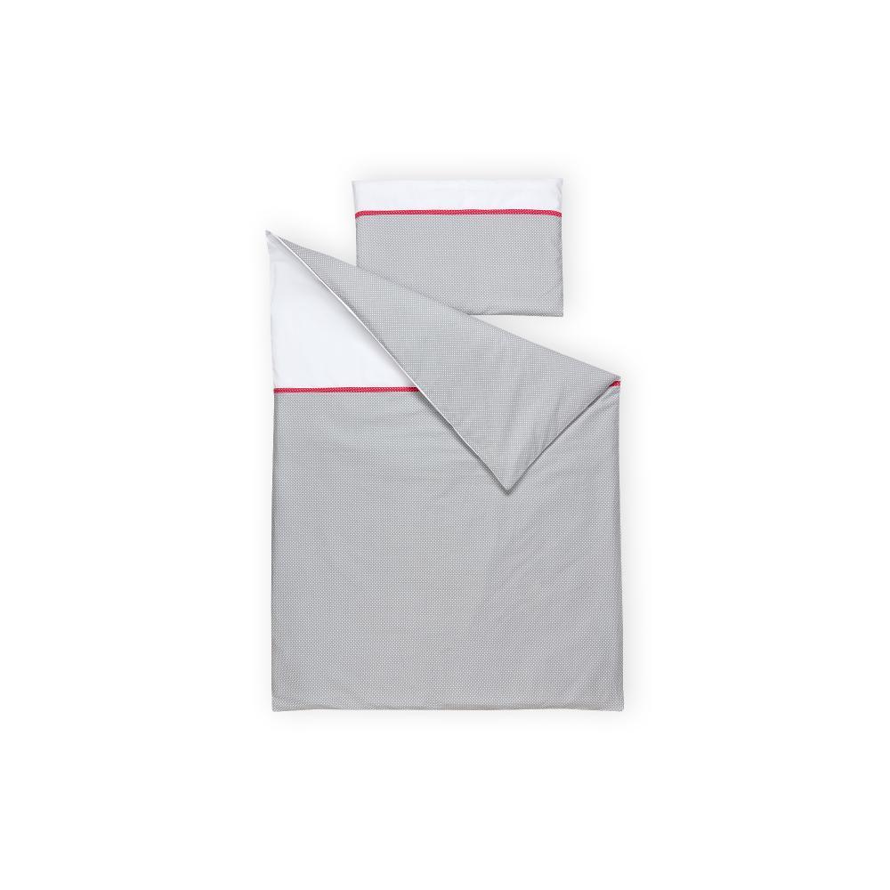 KraftKids Bettwäscheset Uniweiss und weiße Punkte auf Grau 140 x 200 cm, Kissen 80 x 80 cm