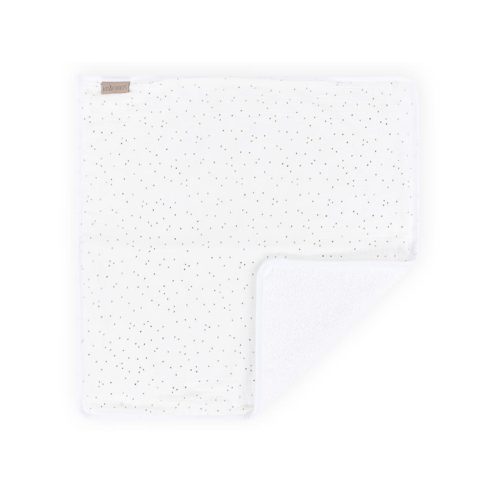 KraftKids Wickelunterlage Musselin goldene Punkte auf Weiß 3 Lagen wasserundurchlässig weich Frotte 100% Baumwolle