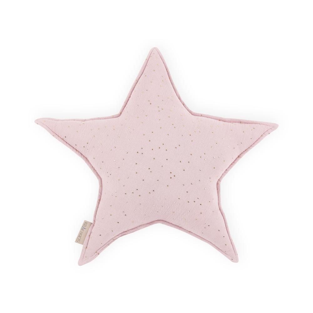KraftKids Dekoration Sternkissen Musselin goldene Punkte auf Rosa