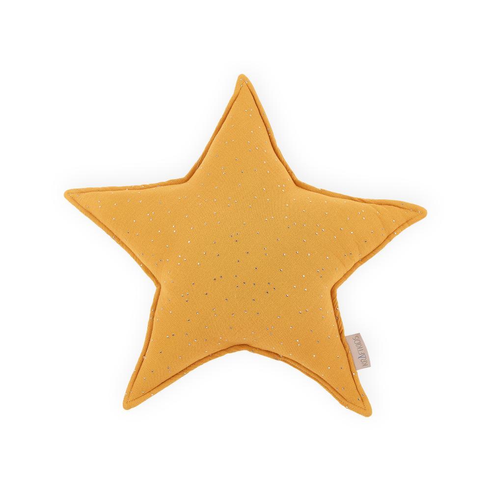 KraftKids Dekoration Sternkissen Musselin goldene Punkte auf Gelb