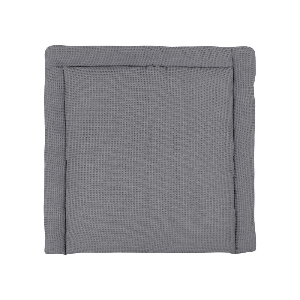 KraftKids Wickelauflage Waffel Piqué grau breit 78 x tief 78 cm z. B. für MALM oder HEMNES Kommodenaufsatz von KraftKids