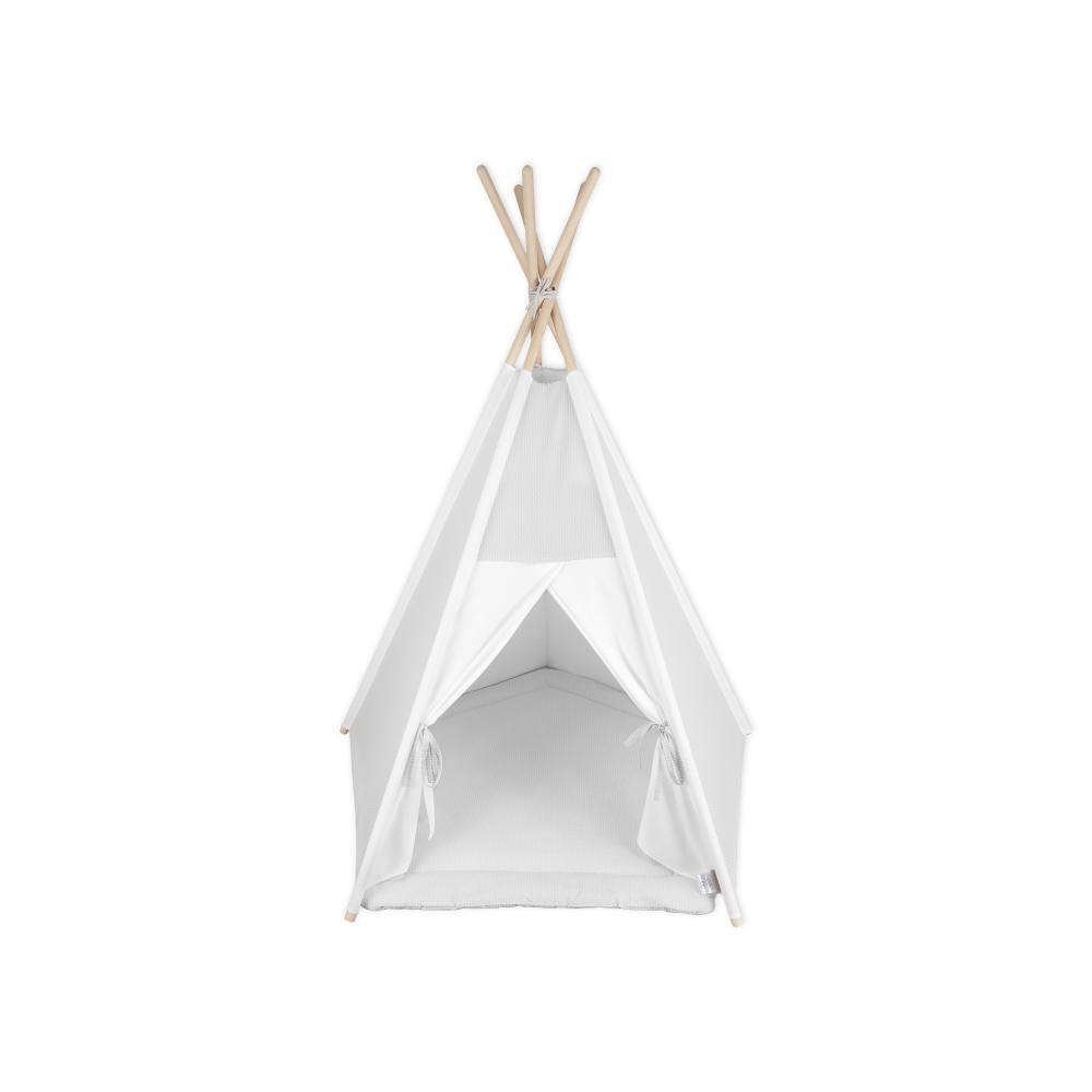 KraftKids Tipi Sets in Grau kleine Blätter hellgrau auf Weiß inkl. Spielmatte