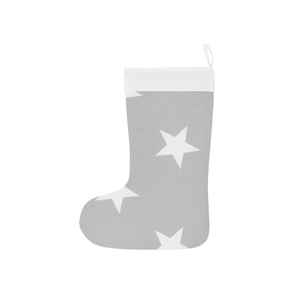 KraftKids Weihnachtssocke große weiße Sterne auf Grau Weihnachtsstrumpf