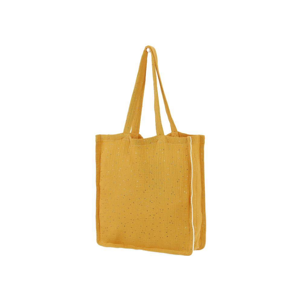 KraftKids Tragetasche Musselin goldene Punkte auf Gelb Shopper