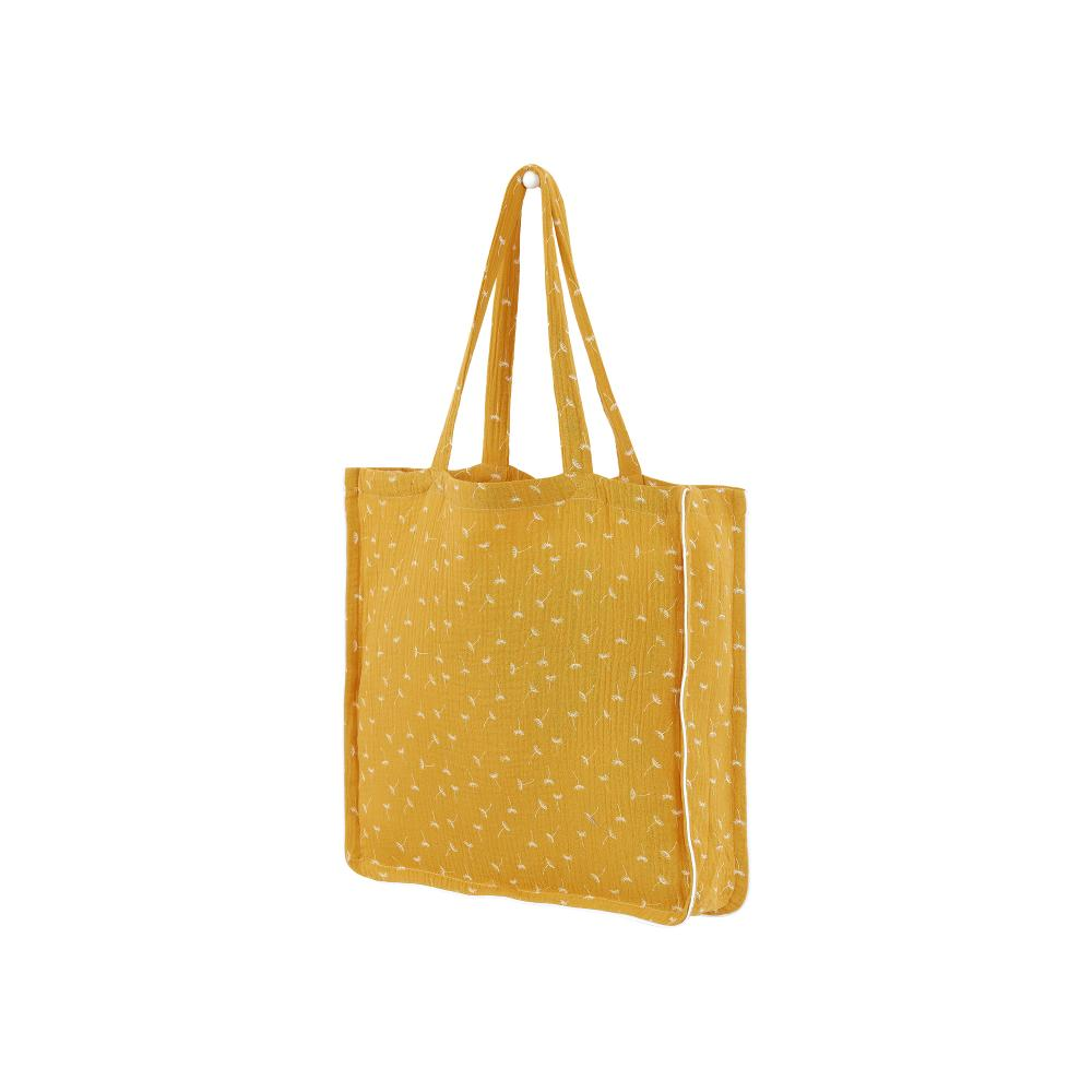 KraftKids Tragetasche Musselin gelb Pusteblumen Shopper