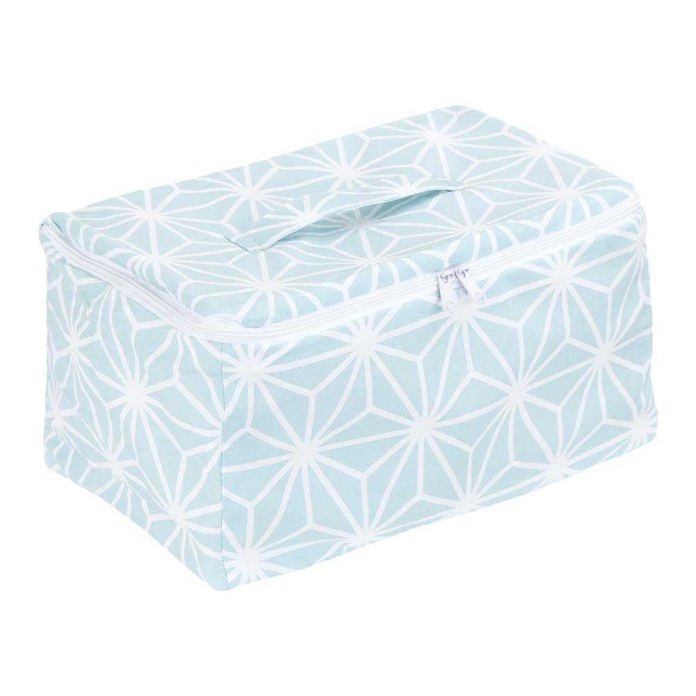 KraftKids Körbchen verschliessbar weiße Diamante auf Pastel Blau 30 x 18 x 15 cm