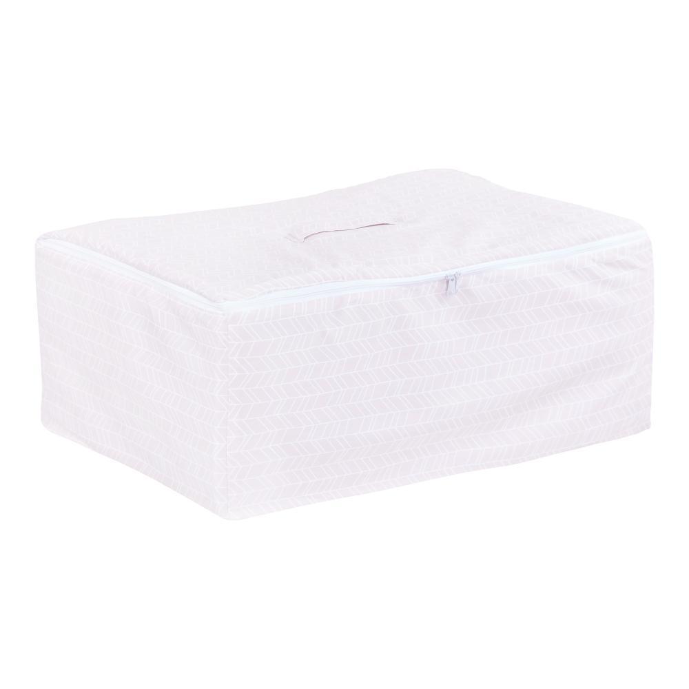 KraftKids Körbchen für Unterbett weiße Feder Muster auf Rosa 60 x 40 x 17 cm