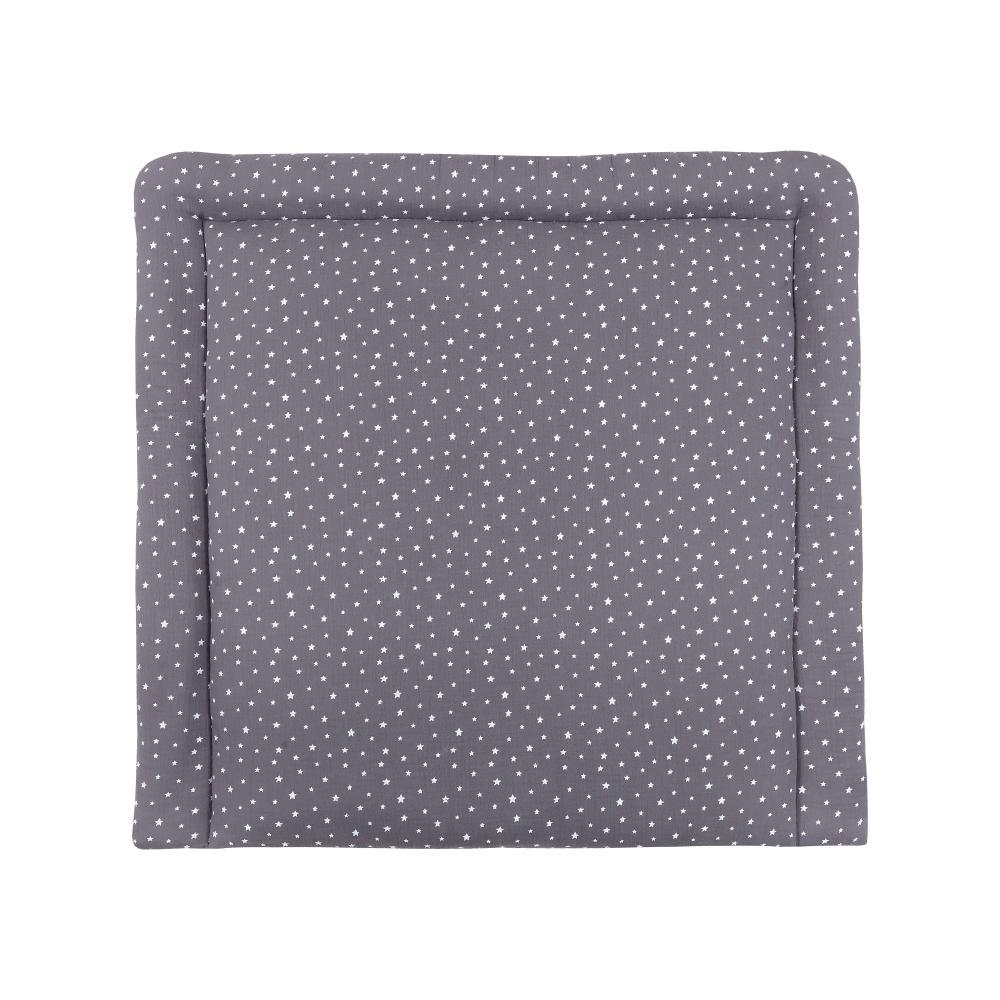miniFifia Wickelauflage Musselin weiße Sterne auf Grau breit 78 x tief 78 cm z. B. für MALM oder HEMNES Kommodenaufsatz von KraftKids