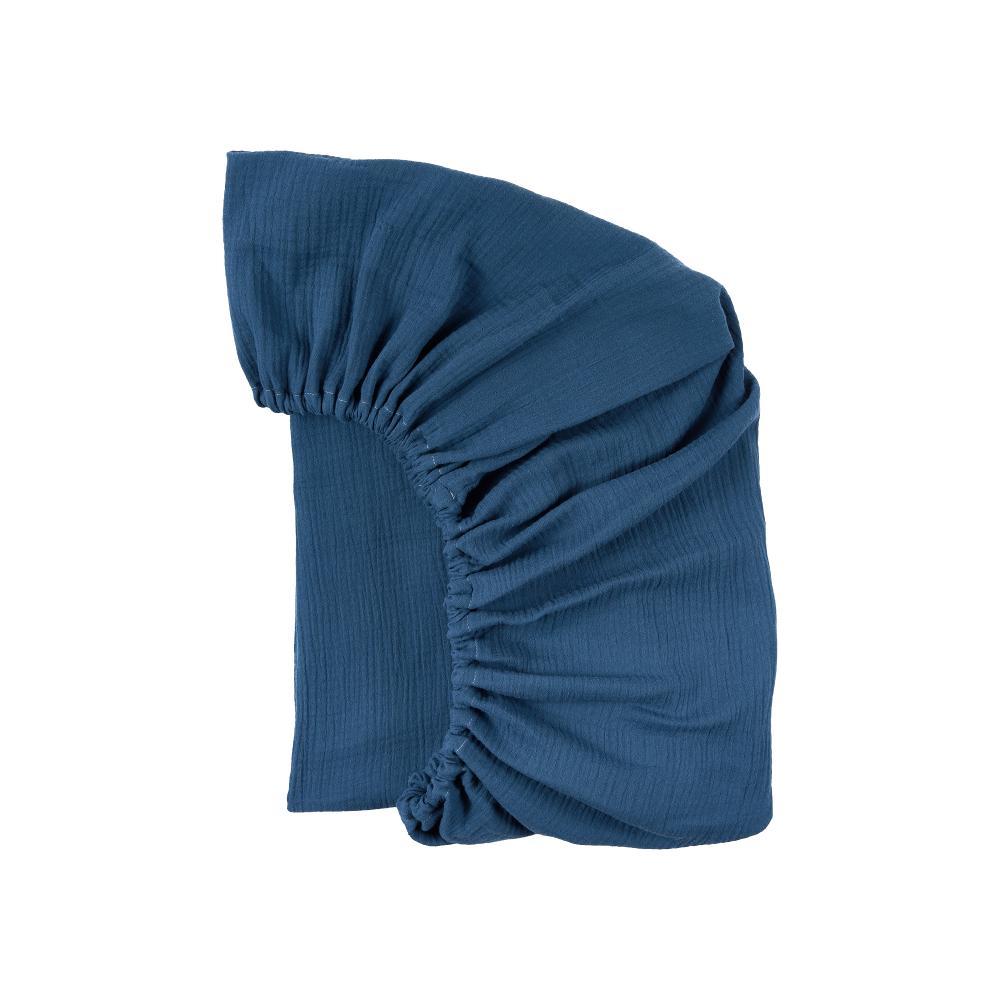 KraftKids Spannbettlaken Musselin blau passend für Matratze 120 x 60 cm