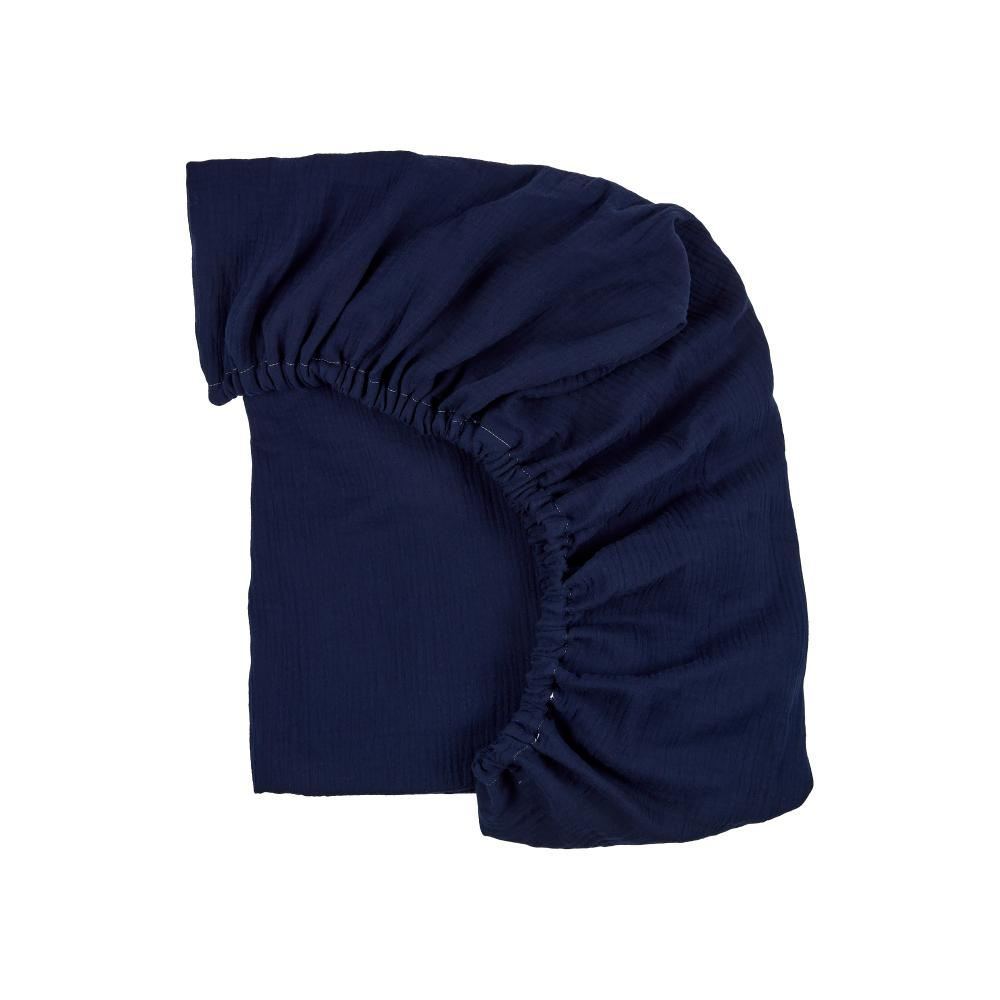 KraftKids Spannbettlaken Musselin dunkelblau passend für Matratze 120 x 60 cm