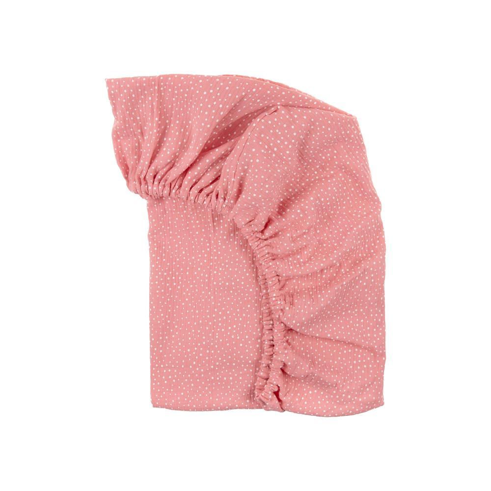 KraftKids Spannbettlaken Musselin rosa Punkte passend für Matratze 120 x 60 cm