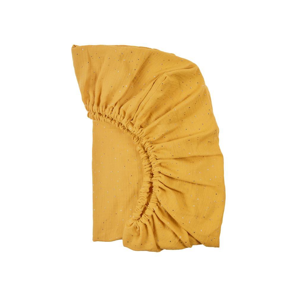 KraftKids Spannbettlaken Musselin goldene Punkte auf Gelb passend für Matratze 140 x 70 cm