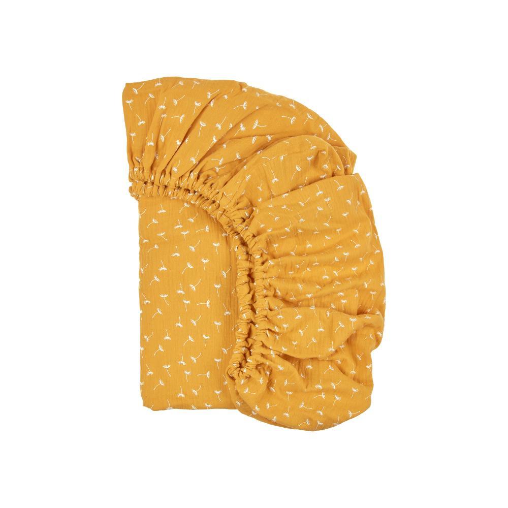 KraftKids Spannbettlaken Musselin gelb Pusteblumen passend für Matratze 140 x 70 cm