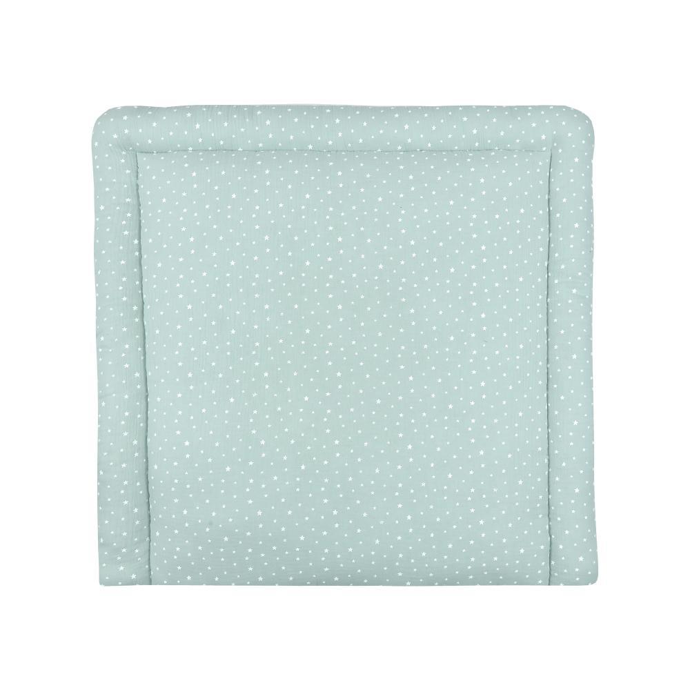 miniFifia Wickelauflage Musselin weiße Sterne auf Mint breit 60 x tief 70 cm passend für Waschmaschinen-Aufsatz von KraftKids
