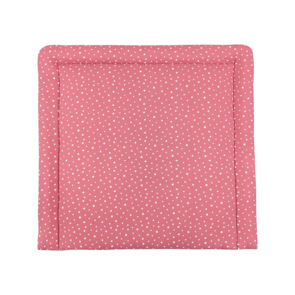 miniFifia Wickelauflage Musselin weiße Sterne auf Rosa 85 cm breit x 75 cm tief