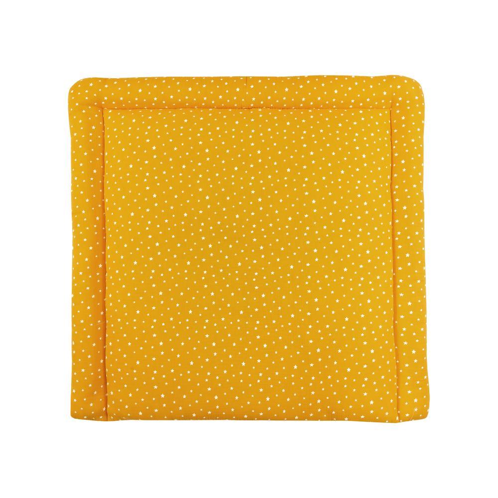 miniFifia Wickelauflage Musselin weiße Sterne auf Gelb Mustard breit 78 x tief 78 cm z. B. für MALM oder HEMNES Kommodenaufsatz von KraftKids