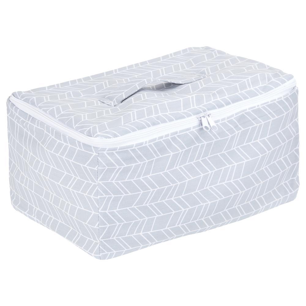 KraftKids Körbchen verschliessbar weiße Feder Muster auf Grau 30 x 18 x 15 cm