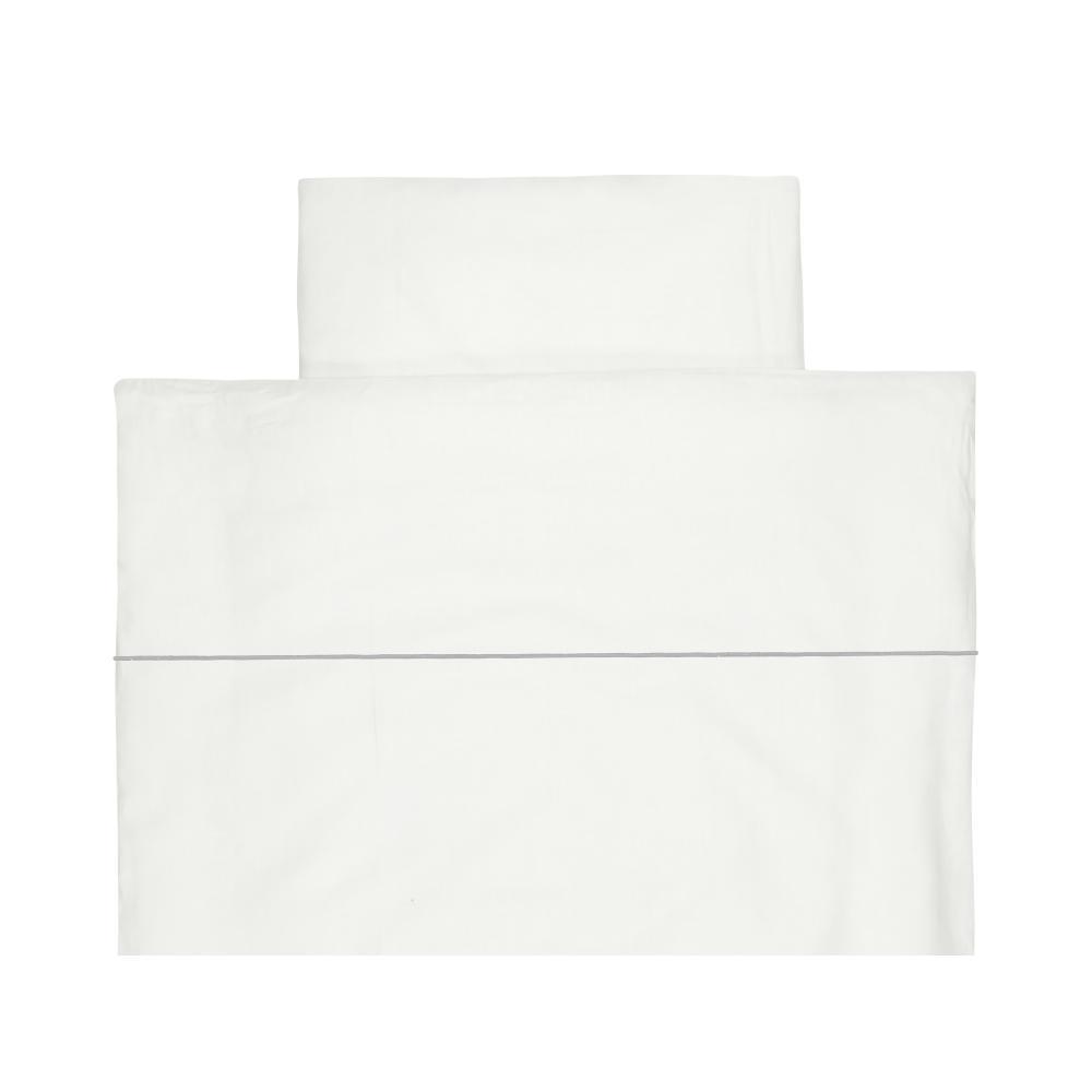 KraftKids Bettwäscheset Leinen leicht grünes Weiß 100 x 135 cm, Kissen 40 x 60 cm