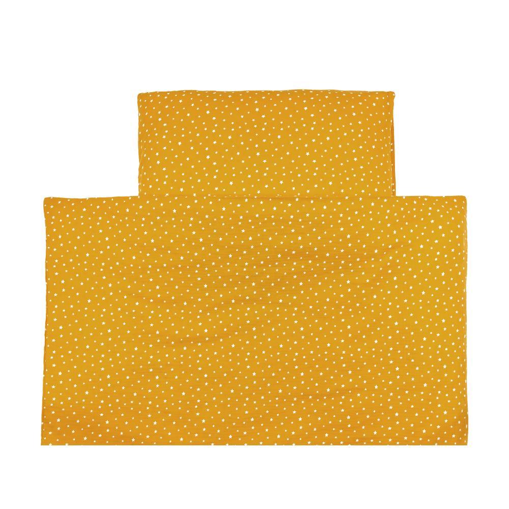 miniFifia Bettwäscheset Musselin weiße Sterne auf Gelb Mustard 100 x 135 cm, Kissen 40 x 60 cm