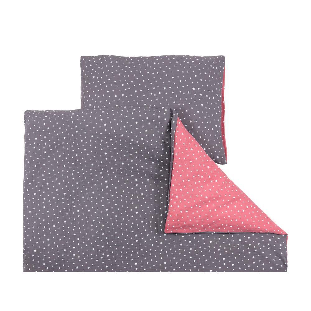 miniFifia Bettwäscheset Musselin weiße Sterne auf Grau und Musselin weiße Sterne auf Rosa 100 x 135 cm, Kissen 40 x 60 cm