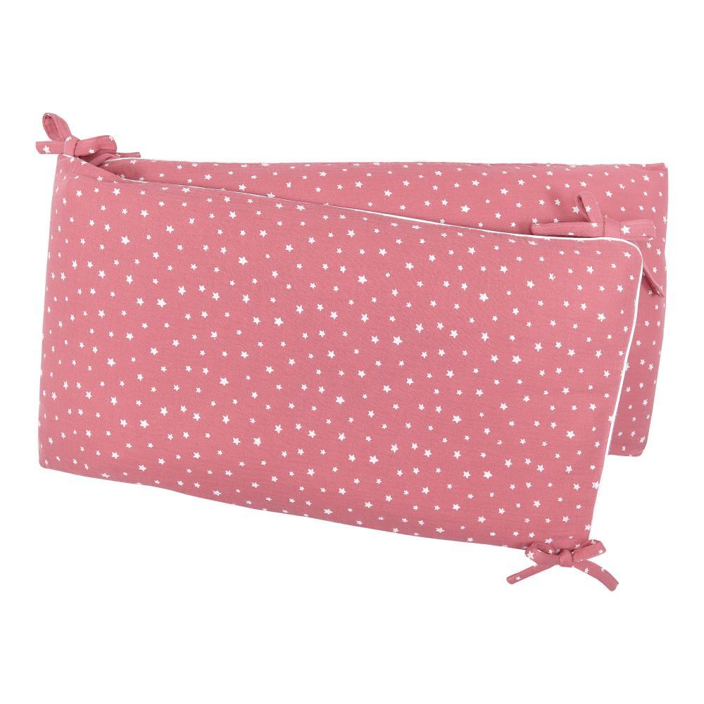 miniFifia Nestchen Musselin weiße Sterne auf Rosa Nestchenlänge 60-70-60 cm für Bettgröße 140 x 70 cm