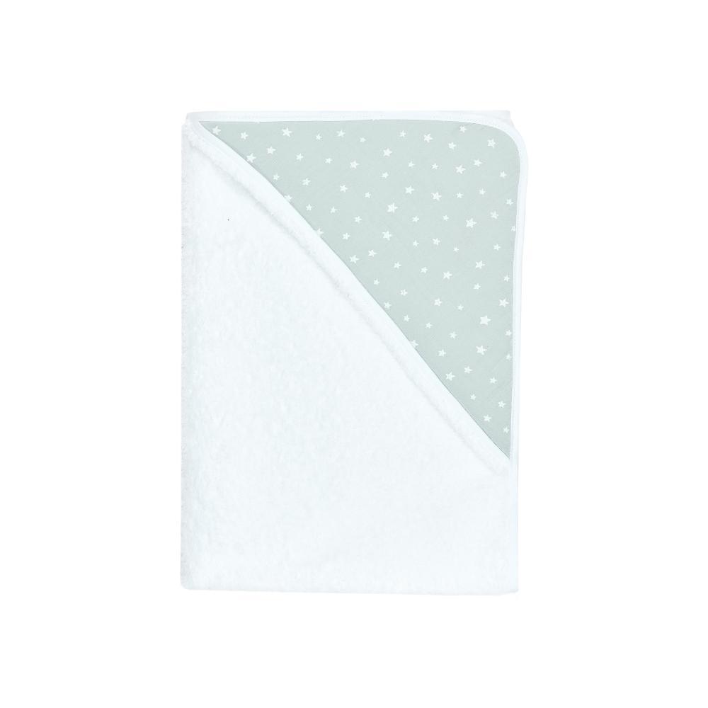 miniFifia Kapuzenhandtuch Musselin weiße Sterne auf Mint