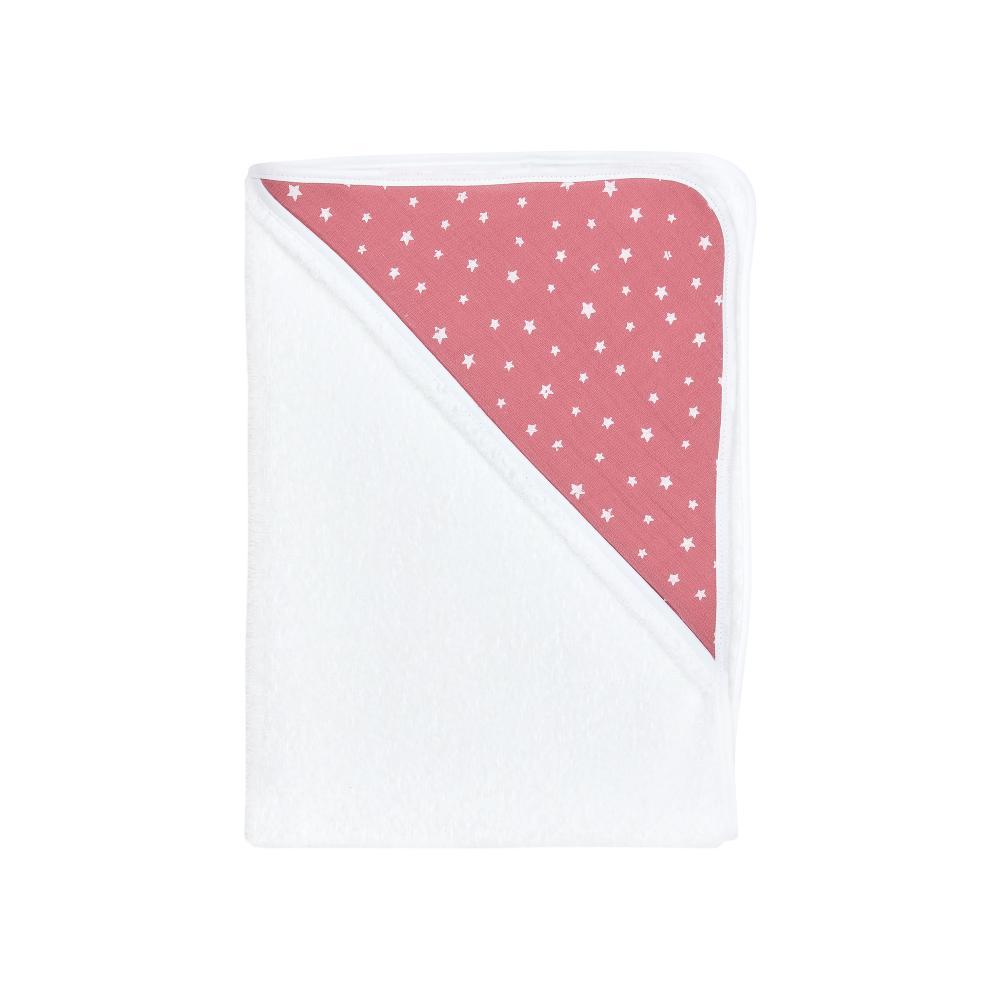miniFifia Kapuzenhandtuch Musselin weiße Sterne auf Rosa