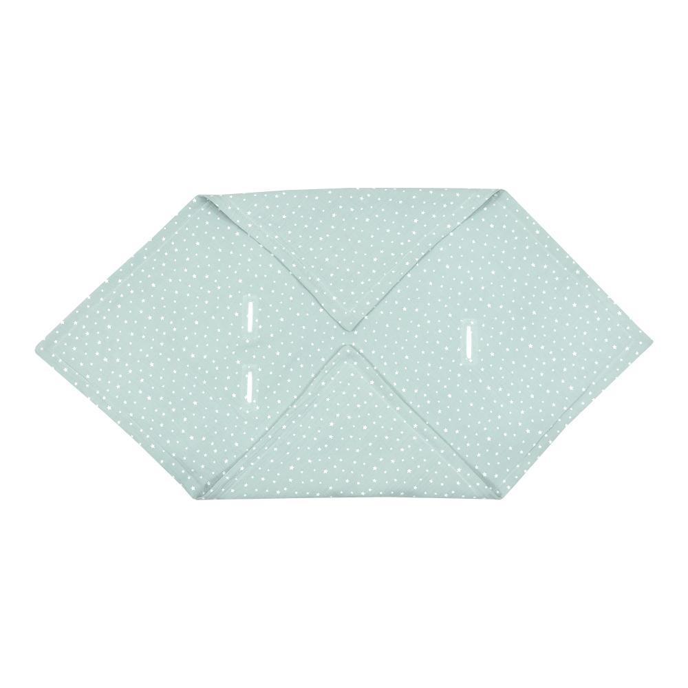 miniFifia Babydecke für Babyschale Sommer Musselin weiße Sterne auf Mint