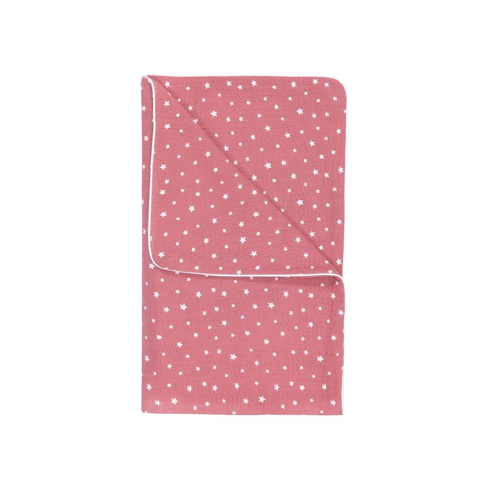 miniFifia Musselintuch Musselin weiße Sterne auf Rosa