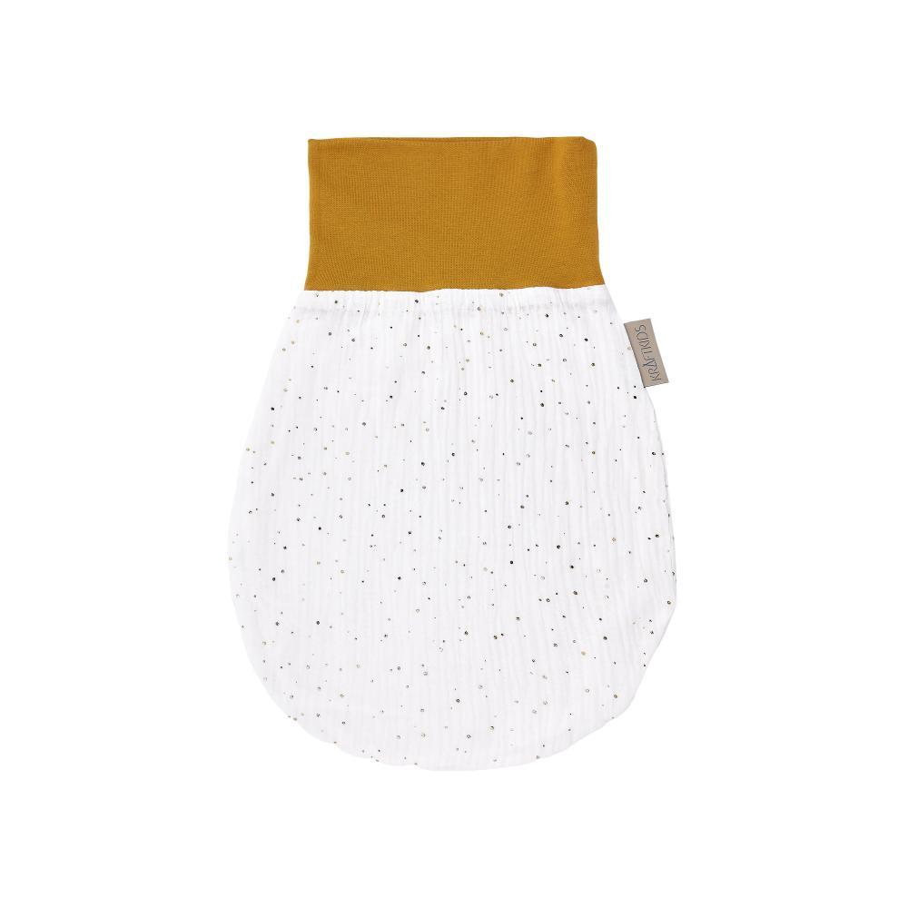 KraftKids Strampelsack Frühling Sommer Musselin goldene Punkte auf Weiß Größe 34 cm (0 bis 6 Monate)