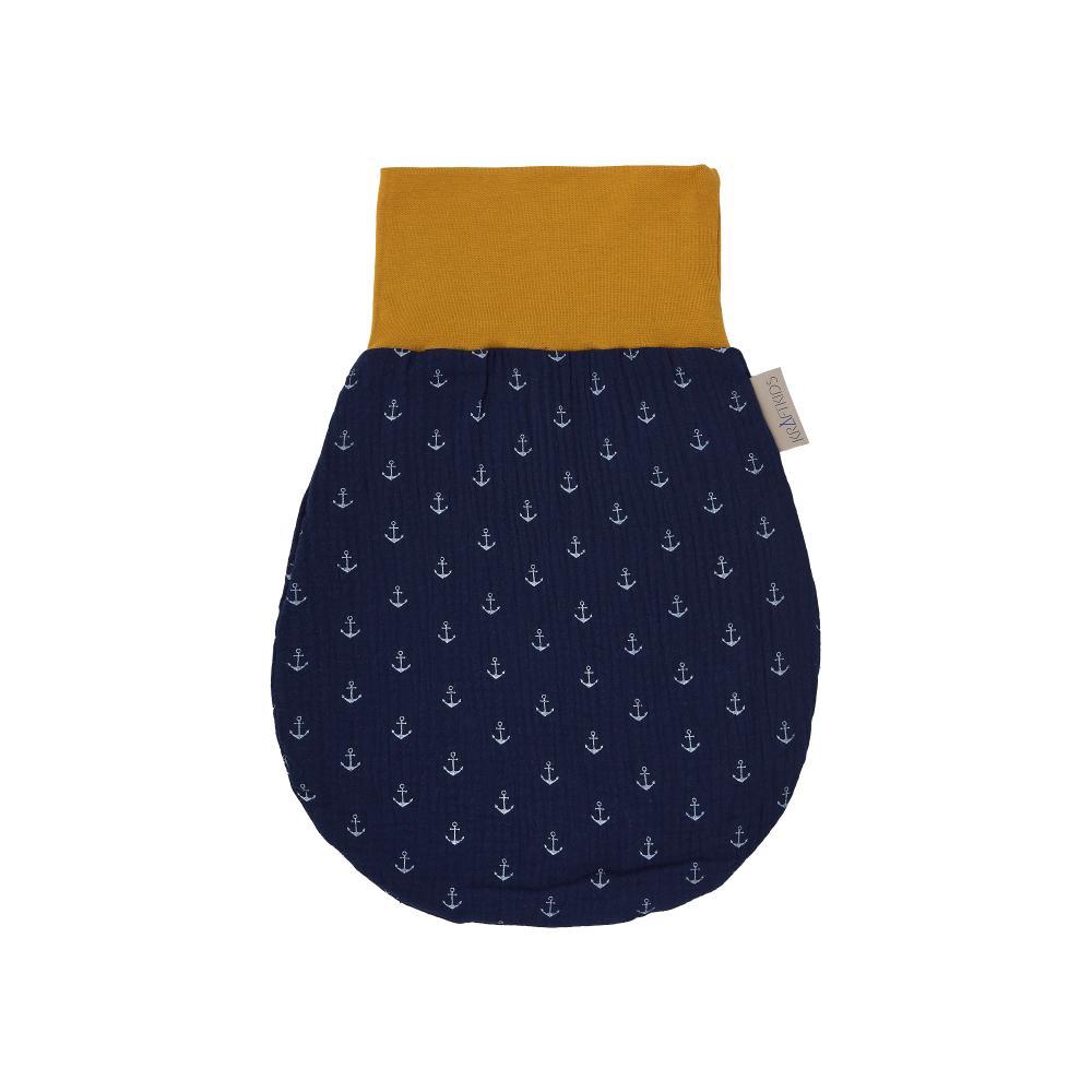 KraftKids Strampelsack Frühling Sommer Musselin dunkelblau Anker Größe 60 cm (6 bis 12 Monate)
