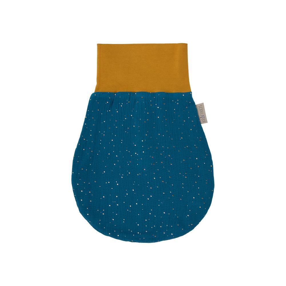 KraftKids Strampelsack Herbst Winter Musselin goldene Punkte auf Petrol Größe 34 cm (0 bis 6 Monate)