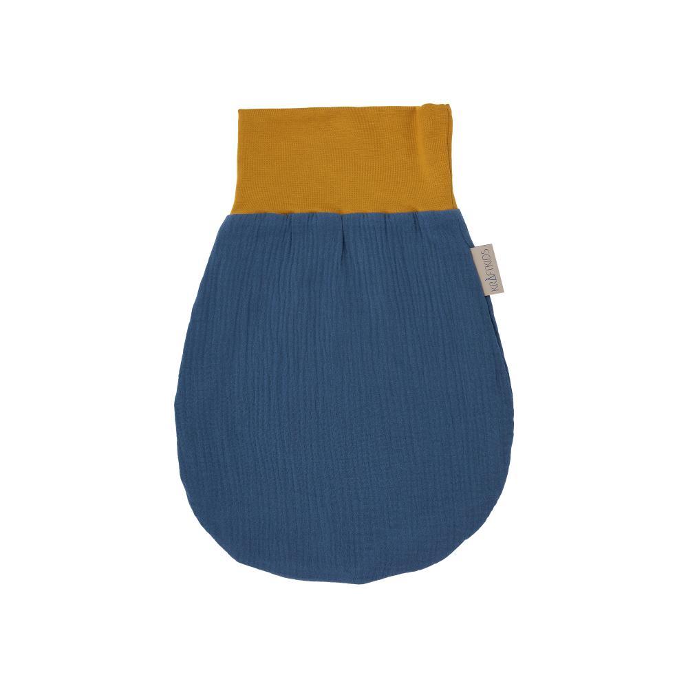KraftKids Strampelsack Herbst Winter Musselin blau Größe 34 cm (0 bis 6 Monate)