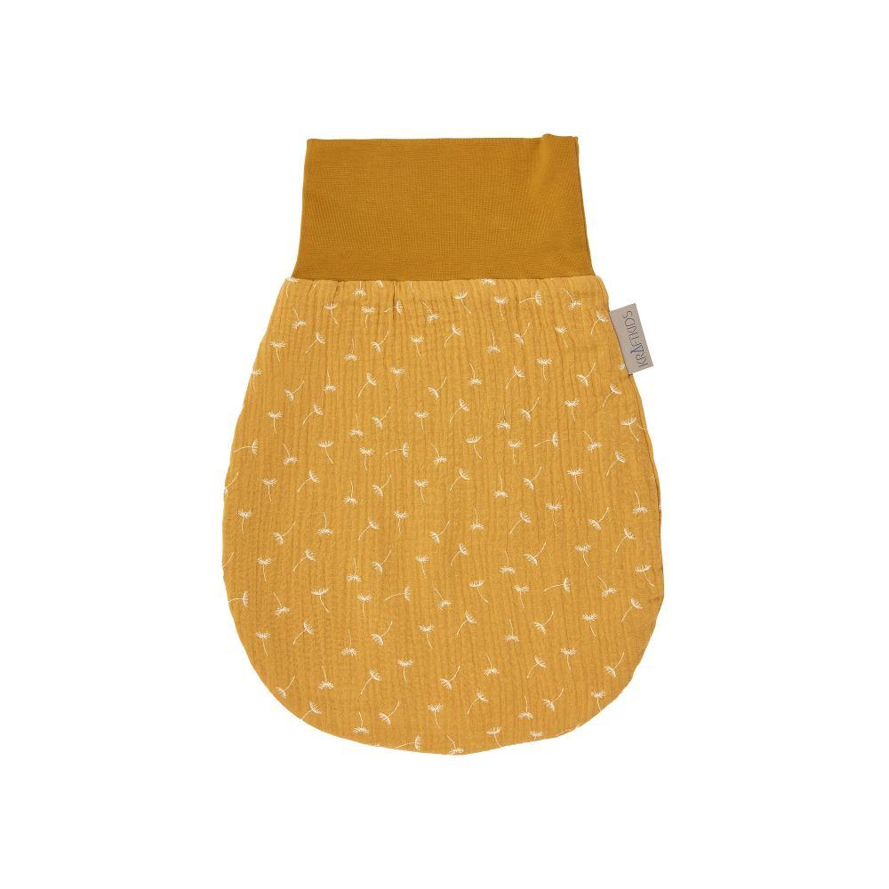 KraftKids Strampelsack Herbst Winter Musselin gelb Pusteblumen Größe 34 cm (0 bis 6 Monate)