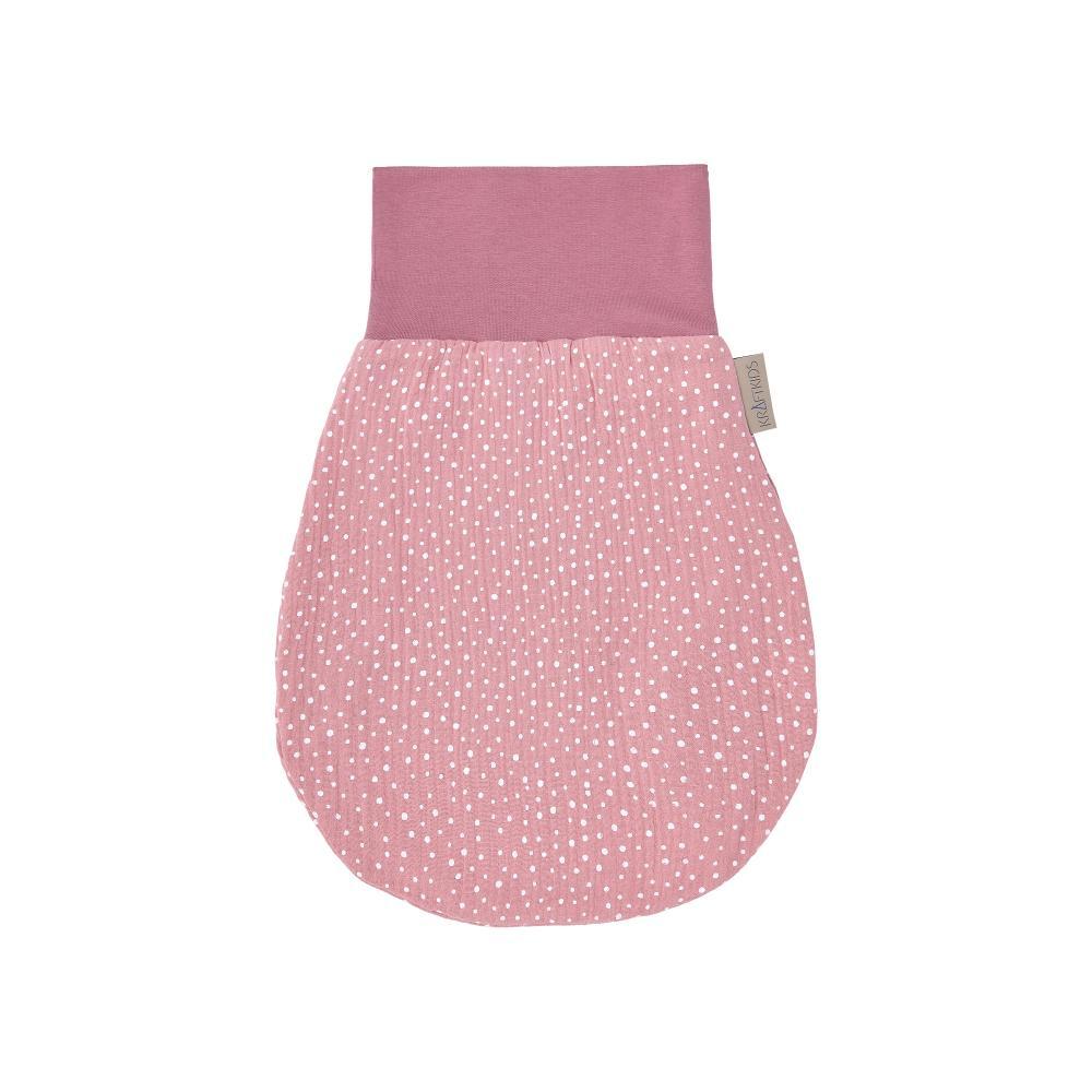 KraftKids Strampelsack Herbst Winter Musselin rosa Punkte Größe 34 cm (0 bis 6 Monate)